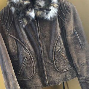 Danier Leather Fur-Trimmed Jacket